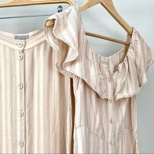H&M Pink Blush Midi Off the Shoulder Dress A-Line